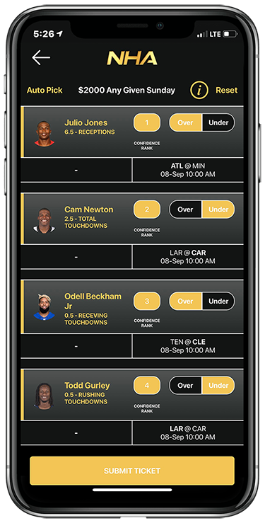 NFL Player Props contest on No House Advantage App