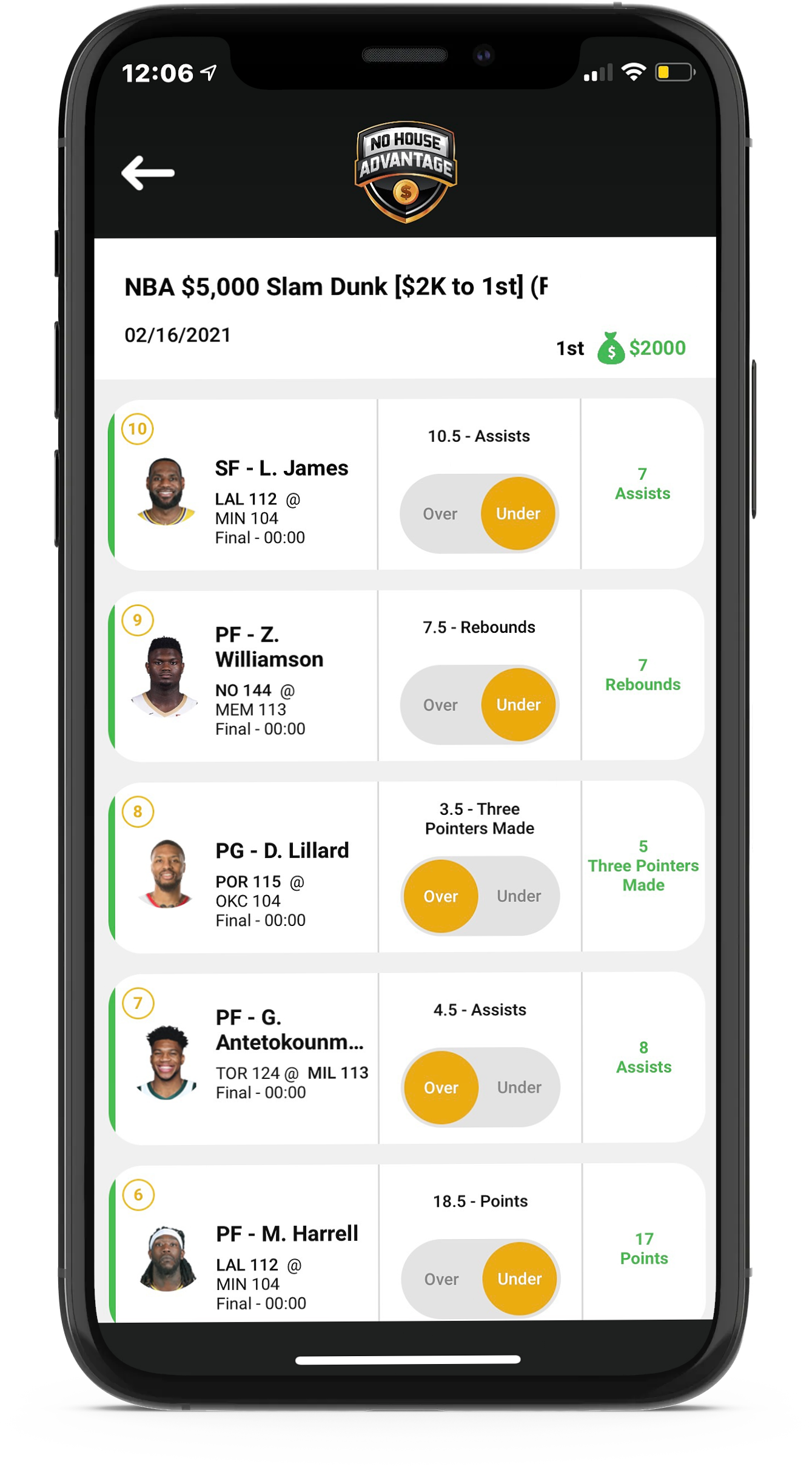 No House Advantage offers NBA daily player prop contests that include all types of player statistics.